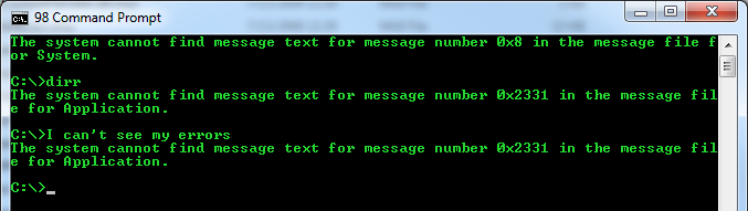 Resolved: The system cannot find message text for message …