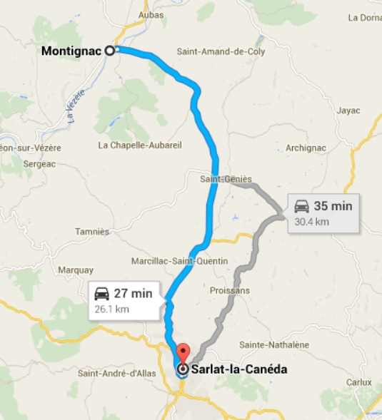 Map - from Montignac to Sarlat